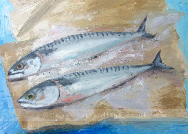Still life Mackerel Painting