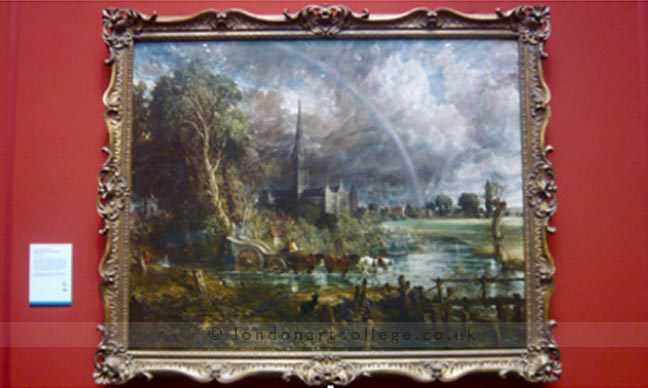 How did constable handle the application of paint in the hay wain