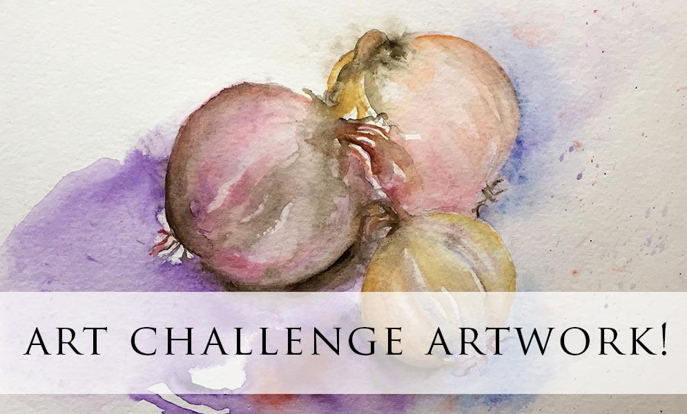 Weekend Art Challenge – Onions and Garlic Artwork!