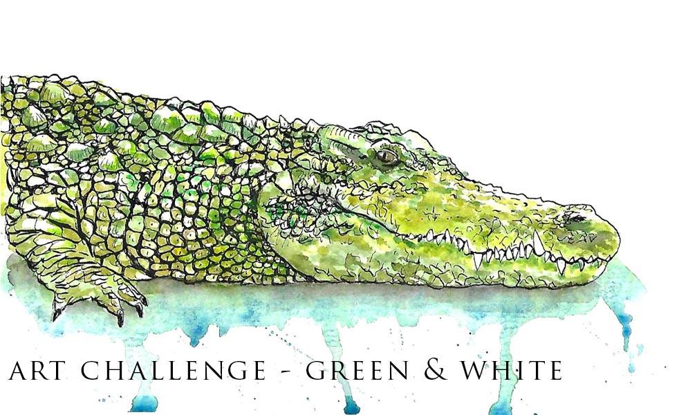 Weekend Art Challenge – Green & White