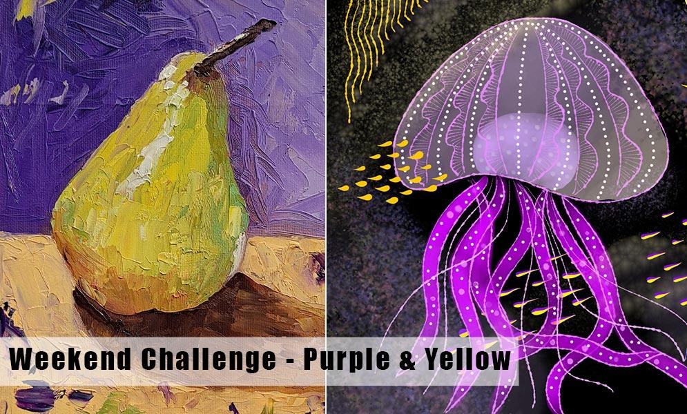 Weekend Art Challenge – Purple & Yellow!